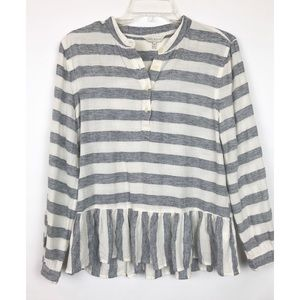 Lucky Brand striped peplum long sleeve top 468